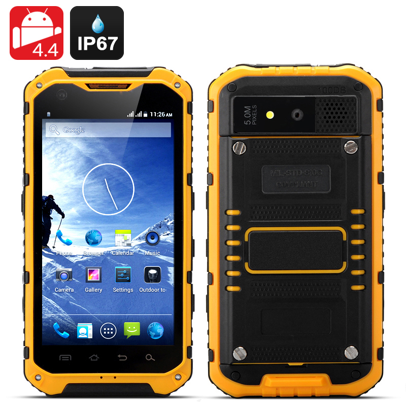 Wholesale Ox II - 4.3 Inch Android Rugged Smartphone (Quad Core, IP67 Waterproof + Dust Proof, OTG, 3000mAh, Yellow)