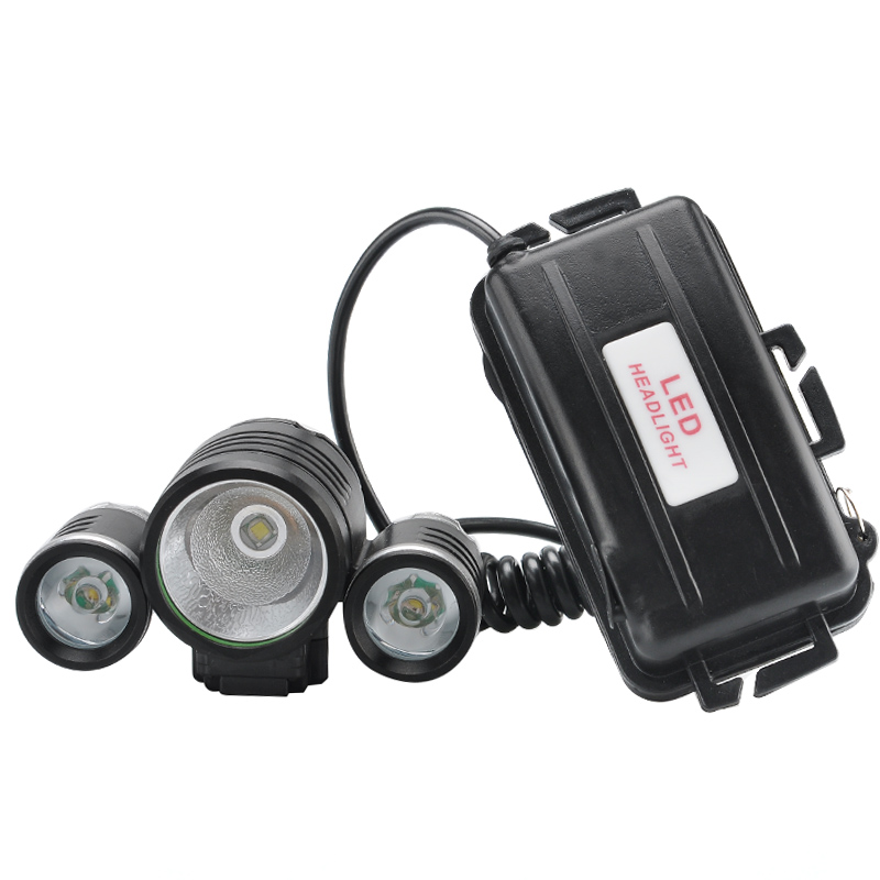 Wholesale Rechargeable LED Bike Headlamp (1800 Lumens, CREE XM-L T6 LED + 2x R2 LEDs, 4 Modes)