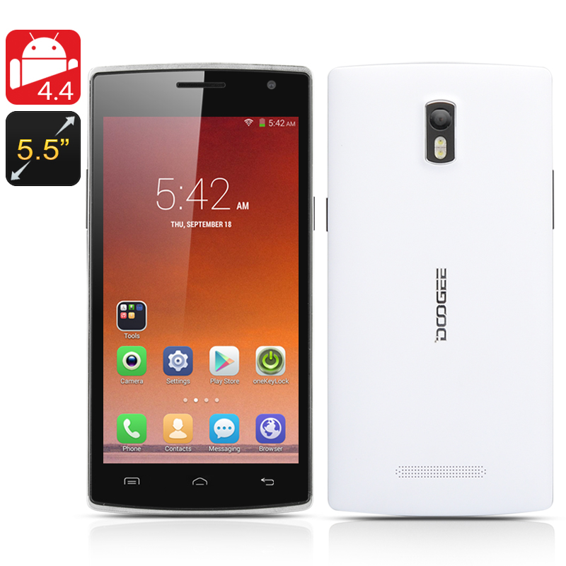 Wholesale DOOGEE KISSME DG580 5.5 Inch Android Phone (HotKnot, Quad Core 1.3GHz CPU, 8GB, White)