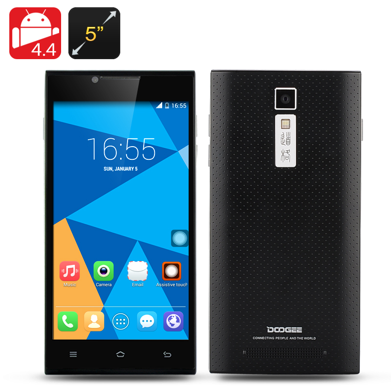 Wholesale DOOGEE TURBO DG2014 5 Inch Android Phone (Quad Core 1.3GHz CPU, 1280x720, 1GB RAM, 8GB, Black)