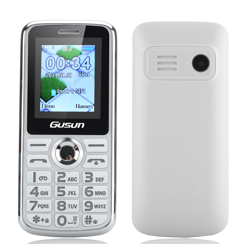 Wholesale GUSUN F7 Dual SIM Senior Citizen Phone (1.8 Inch, FM, Camera, LED Torch, White)