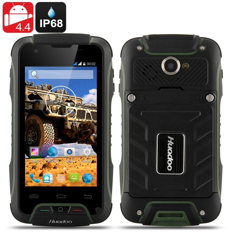 Wholesale Huadoo V3 IP68 Rugged 3G Android 4.4 Smartphone (Waterproof, 4 Inch, 1.3GHz Quad Core, Green)