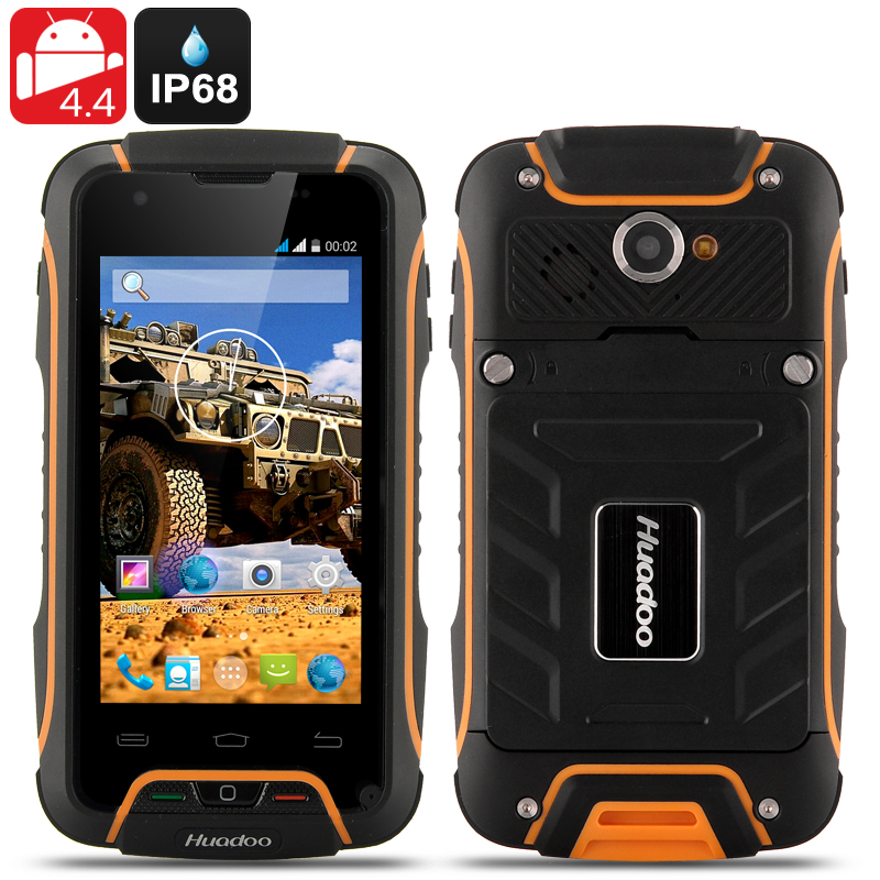 Wholesale Huadoo V3 IP68 Rugged 3G Android 4.4 Smartphone (Waterproof, 4 Inch, 1.3GHz Quad Core, Yellow)