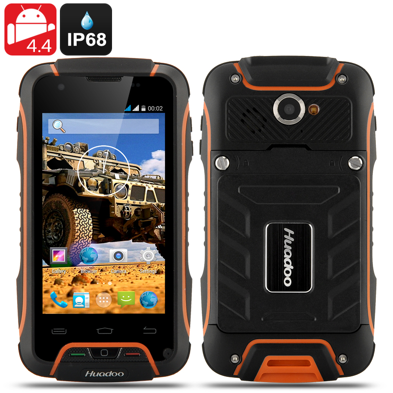 Wholesale Huadoo V3 IP68 Rugged 3G Android 4.4 Smartphone (Waterproof, 4 Inch, 1.3GHz Quad Core, Orange)