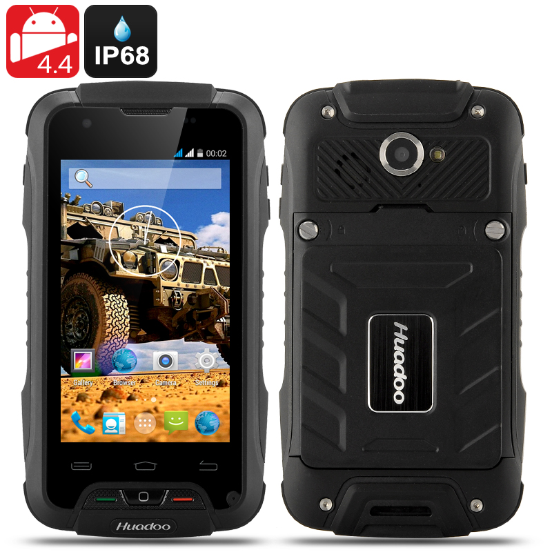 Wholesale Huadoo V3 IP68 Rugged 3G Android 4.4 Smartphone (Waterproof, 4 Inch, 1.3GHz Quad Core, Black)