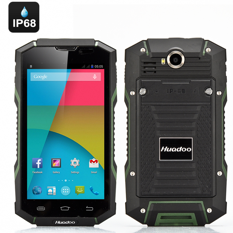 Wholesale Huadoo V4 IP68 Rugged Android Smartphone (Waterproof, Gorilla Glass II, Quad Core 1.3GHz, 1GB RAM, Green)