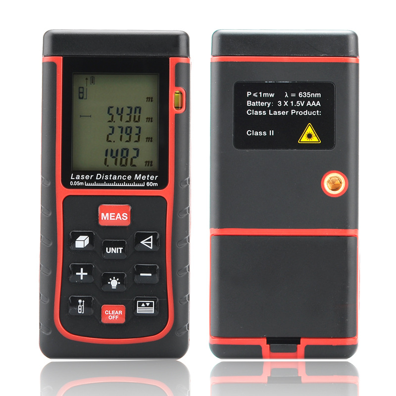 Wholesale Laser Distance Meter (0.05 - 60 Meter, 2mm Accuracy, Spirit Level, 1/4 Inch Tripod Thread)