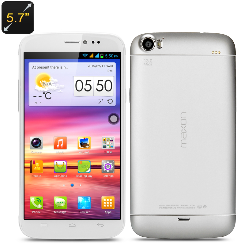 Wholesale Maxon X3 5.7 Inch 3G Android Phone (Quad Core, HD 1280x720, 1GB RAM, 16GB, White)