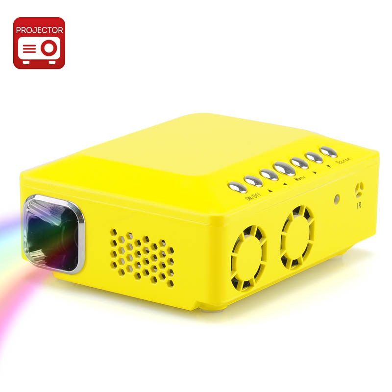 Wholesale Mini DLP Projector (WVGA, 0.3 Inch DMD, 150 Lumens, 1000: 1, 120 Inch, Yellow)