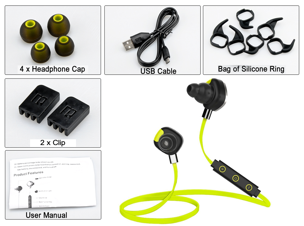 Morul U5 Bluetooth 4.1 Sports Headphones with Pedometer (Noise Reduction, NFC, Music Control, Sweat-Proof)