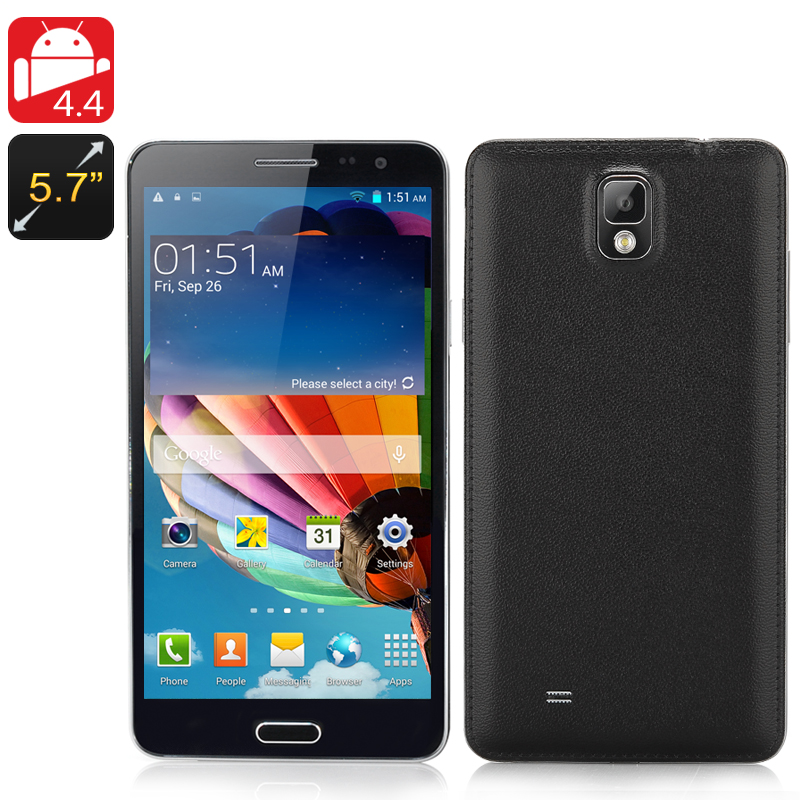 Wholesale Note3 - 5.7 Inch Octa-Core Android 4.4 Phone (2GB RAM, MTK6592 1.7GHz CPU, 8MP Rear Camera, 16GB, Black)
