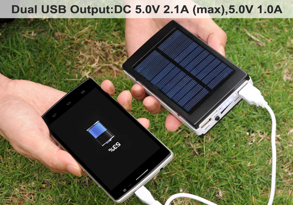 Solar Panel With Led Light Part - 27: Portable Power Bank That Is Suitable For Outdoor Camping