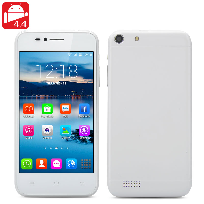 Wholesale Q6 4.6 Inch Android 4.4 3G Smartphone (Dual SIM, Dual Core 1GHz, 800x480, Bluetooth, White)