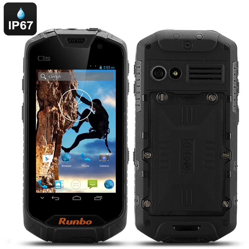 Wholesale Runbo Q5S IP67 Rugged Waterproof Smartphone + Walkie Talkie (Quad Core 1.2GHz, 4.5 Inch, 1GB RAM, 8GB, Yellow)
