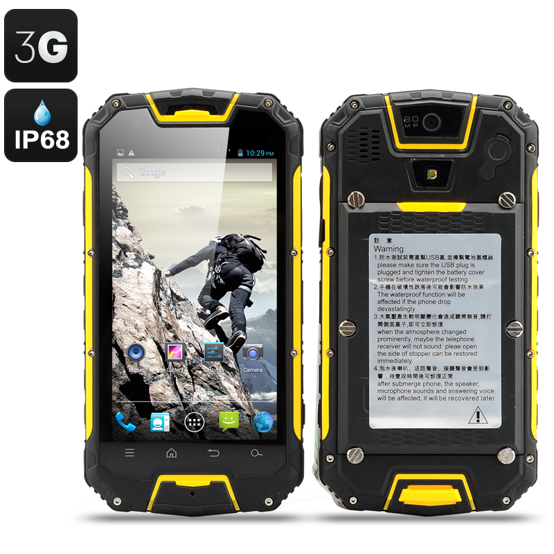 Wholesale Snopow M9 4.5 Inch Rugged 3G Android Smartphone with Walkie Talkie (Dual SIM, IP68 Waterproof, Shockproof + Dust Proof, Yellow)
