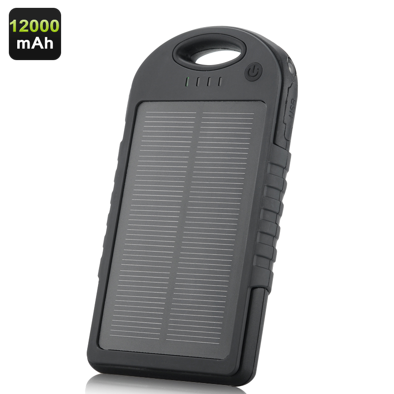 Wholesale 12000mAh Solar Charger (Dual USB Output, LED Torch, Weatherproof, Dustproof, Shockproof)
