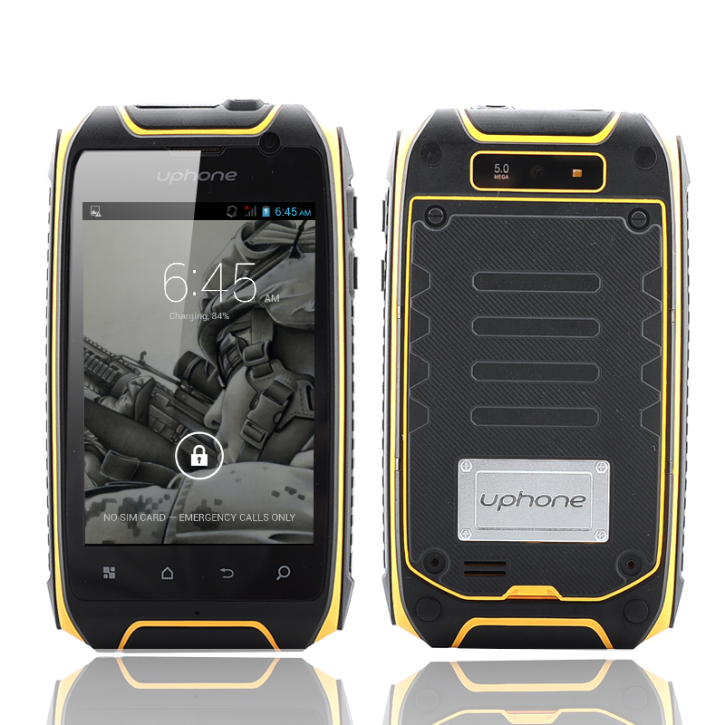 Wholesale Uphone U5+ 3.5 Inch IP67 Waterproof Smartphone (1.3GHz Dual Core CPU, Dual SIM, Dust Proof, Shockproof, Yellow)