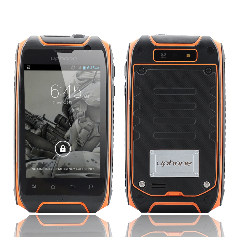 Wholesale Uphone U5+ 3.5 Inch IP67 Waterproof Smartphone (1.3GHz Dual Core CPU, Dual SIM, Dust Proof, Shockproof, Orange)