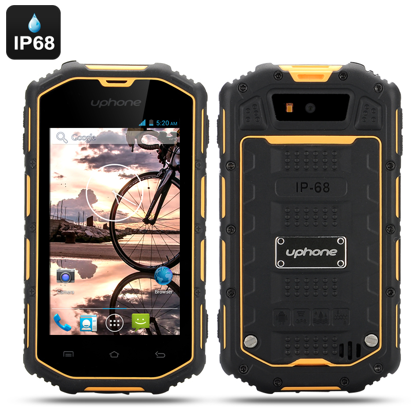 Wholesale Uphone U5A 4 Inch Rugged Android Phone (Dual Core, IP68 Waterproof + Dust Proof, Shockproof, Yellow)