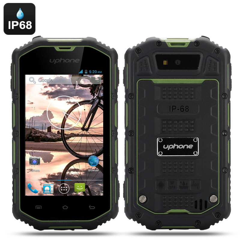 Wholesale Uphone U5A 4 Inch Rugged Android Phone (Dual Core, IP68 Waterproof + Dust Proof, Shockproof, Green)