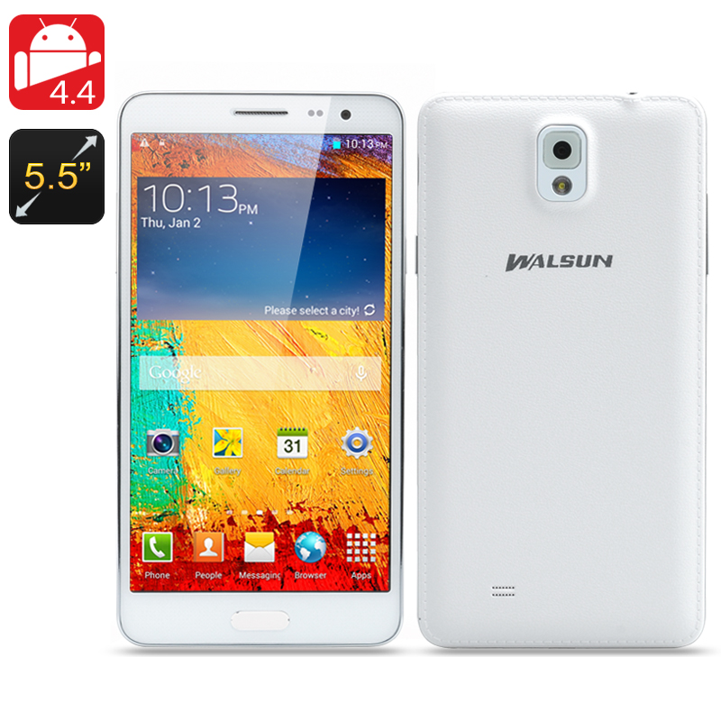 Wholesale Walsun N9000 5.7 Inch Quad Core Android 4.4 Phone (1280x720, 1.3GHz CPU, 8GB, 5MP + 13MP Camera, White)