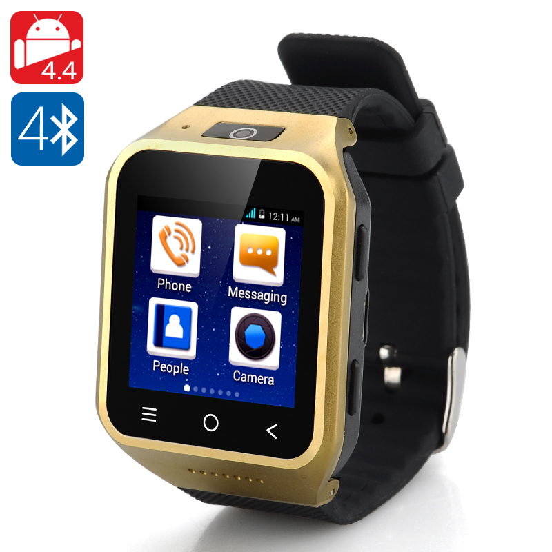 Wholesale ZGPAX S8 Android 4.4 3G Watch Smartphone (1.54 Inch Touchscreen, Dual Core, 4GB ROM, 2MP Camera, Golden)