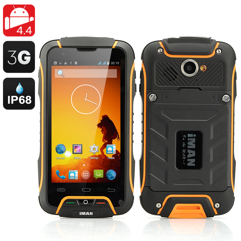 Wholesale iMAN V3 4 Inch OGS IP68 Rugged Android 4.4 Phone (Quad Core, Waterproof, Dust Proof, Shockproof, Orange)