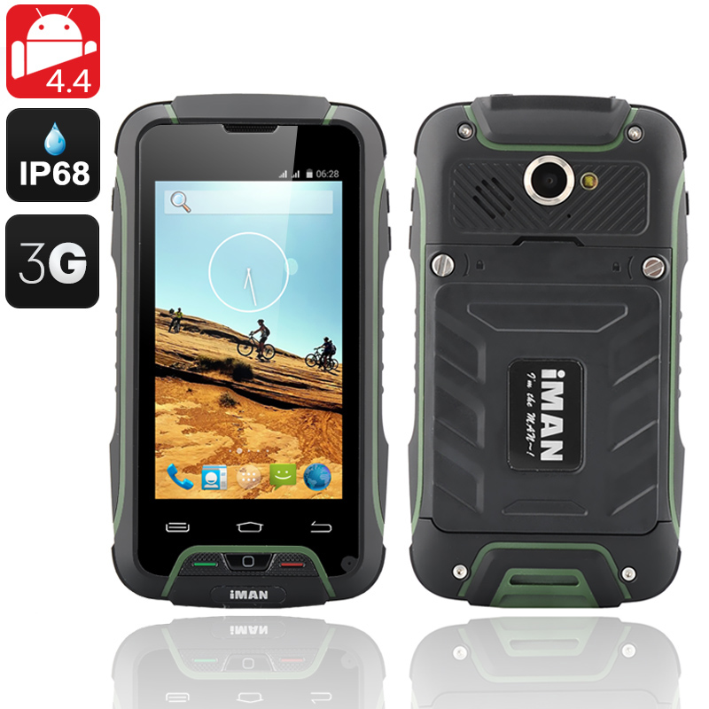 Wholesale iMAN V3 4 Inch OGS IP68 Rugged Android 4.4 Phone (Quad Core, Waterproof, Dust Proof, Shockproof, Green)