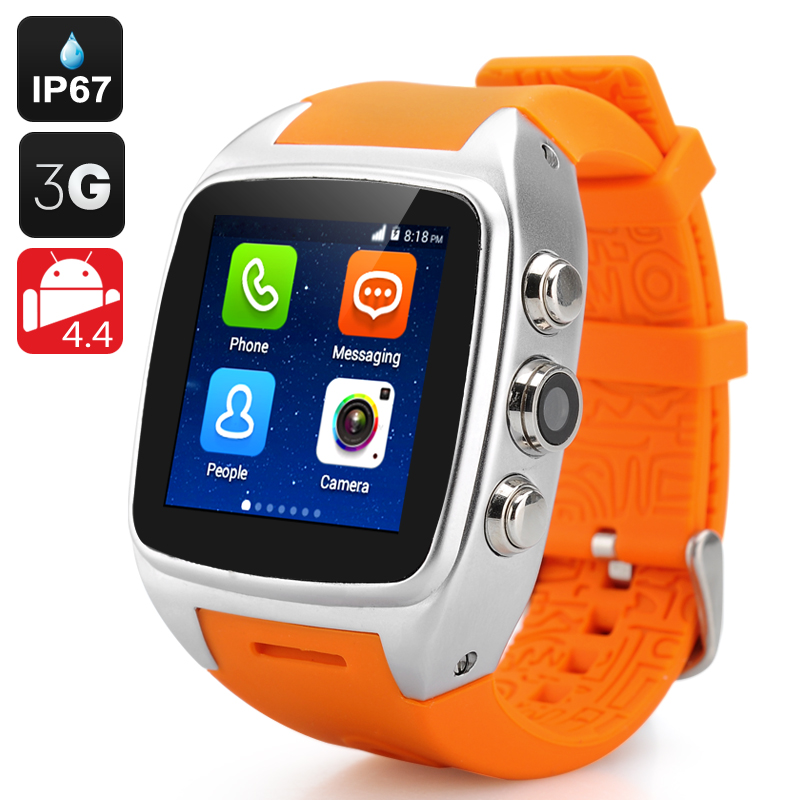 Wholesale iMacwear SPARTA M7 IP67 Waterproof 3G Smart Watch Phone (Android 4.4, 1.54 Inch IPS, 5MP, Silver)
