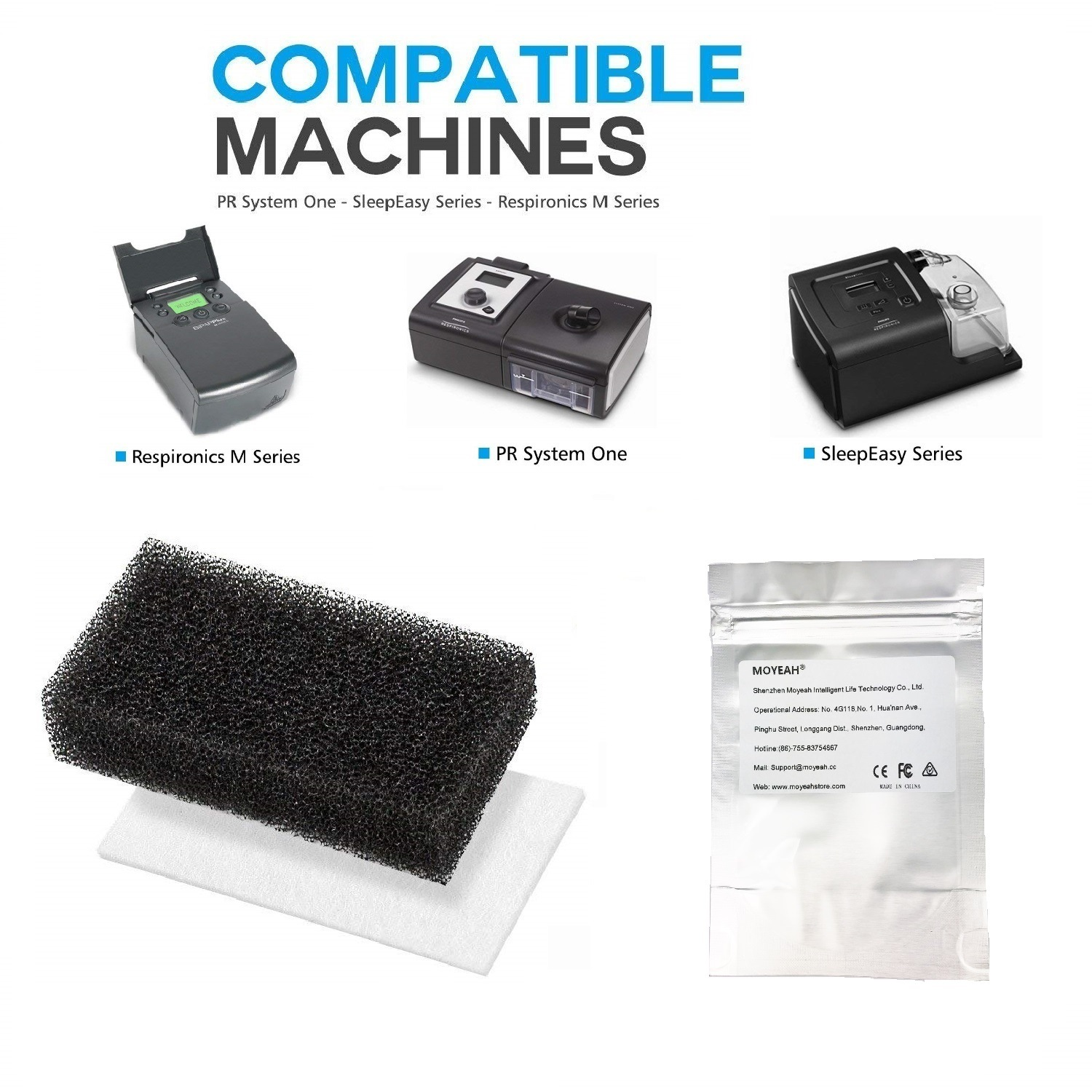Wholesale Ultra Fine CPAP Foam Filters for Philips Respironics M Series / PR System One / Sleepeasy Series (12pcs, Black + White)