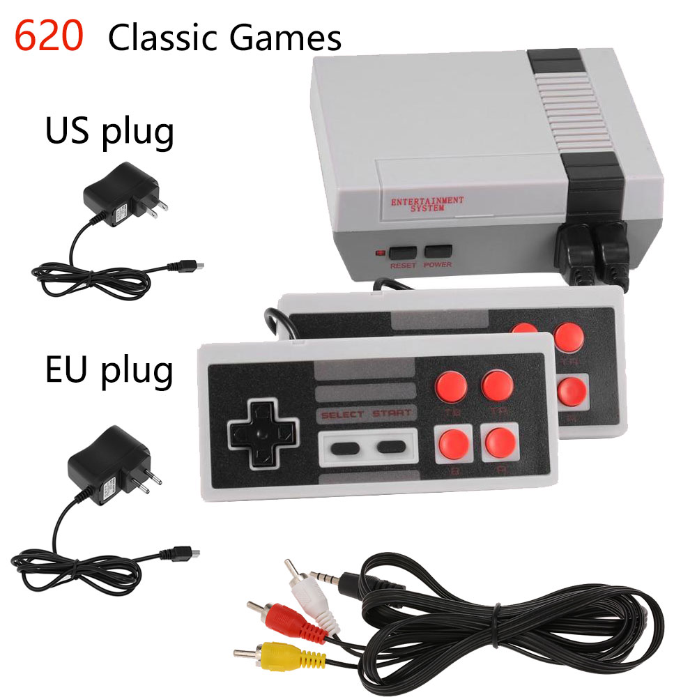 Wholesale Mini TV Video Game Console Handheld Family Recreation Game Dual AV Port Built-in 620 Classic Games