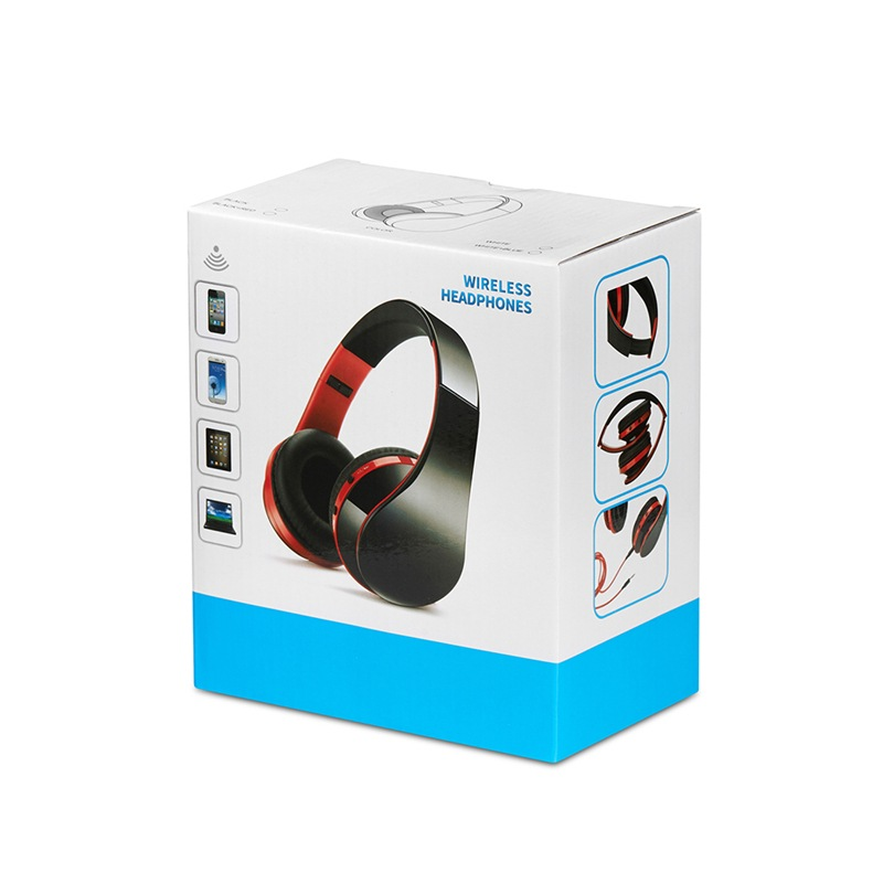 NX-8252 Foldable Wireless Bluetooth Headphones with Built-in Microphone and 3.5mm Audio Port - Black