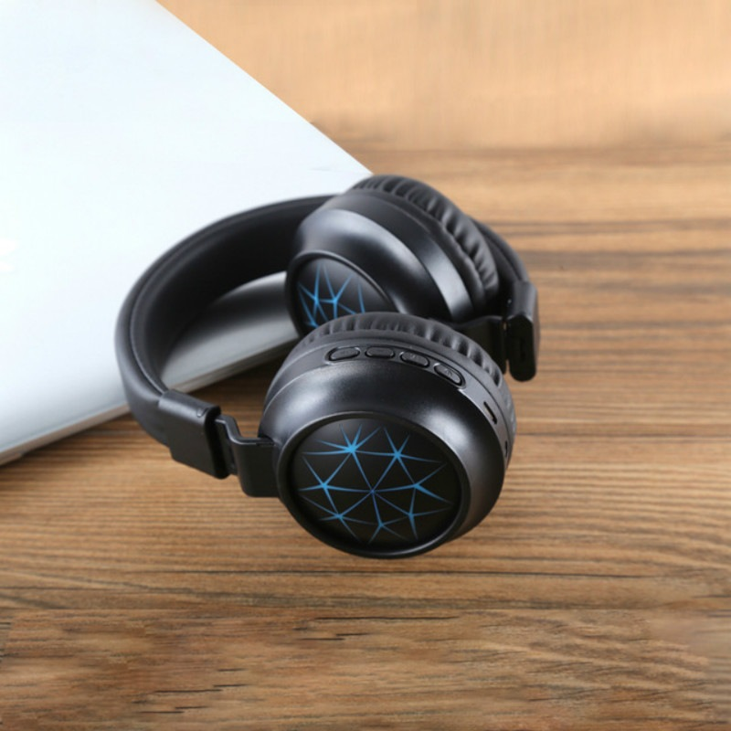 Wholesale MS-K21 Foldable Wireless Bluetooth 5.0 Headphones Stereo Headset Adjustable Earphone with Magic Light, Microphone - Blue