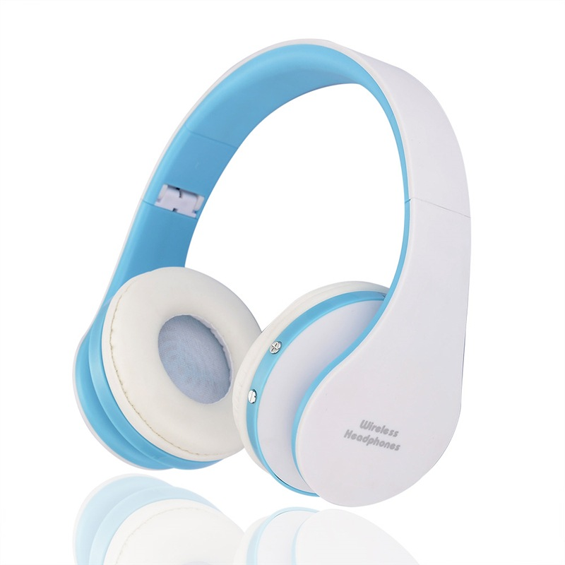 Wholesale NX-8252 Foldable Wireless Bluetooth Headphones with Built-in Microphone and 3.5mm Audio Port - White Blue