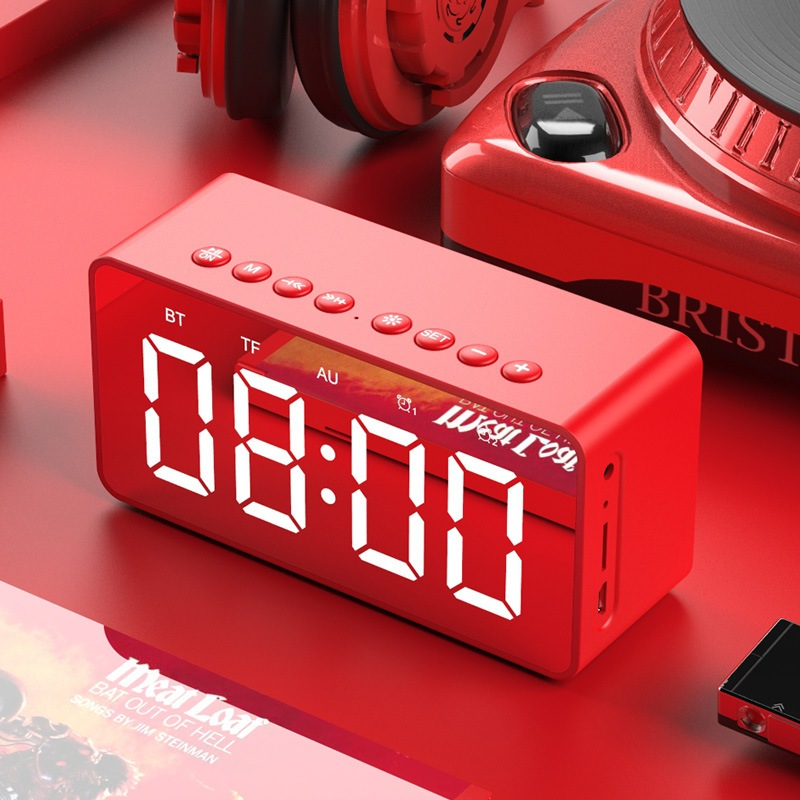 Wholesale BT506 LED Speaker Mirror Alarm Clock with Wireless Bluetooth for Office Bedroom - Red
