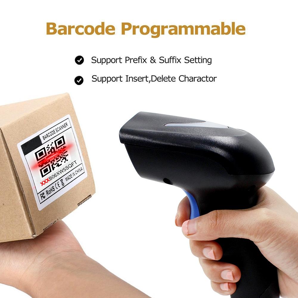 Programmable 1D 2D Barcode Scanner (USB + Wireless, Built-in 1500mAh Battery, Black)