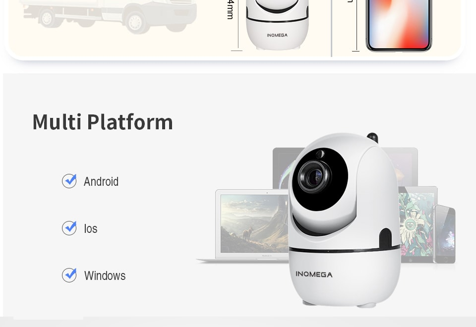 INQMEGA 1080p Home Security Cloud Mini Wireless IP Camera (Two Way Audio, Night Vision, Auto Tracking, PAL)