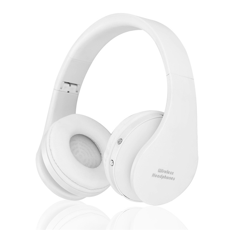 Wholesale NX-8252 Foldable Wireless Bluetooth Headphones with Built-in Microphone and 3.5mm Audio Port - White