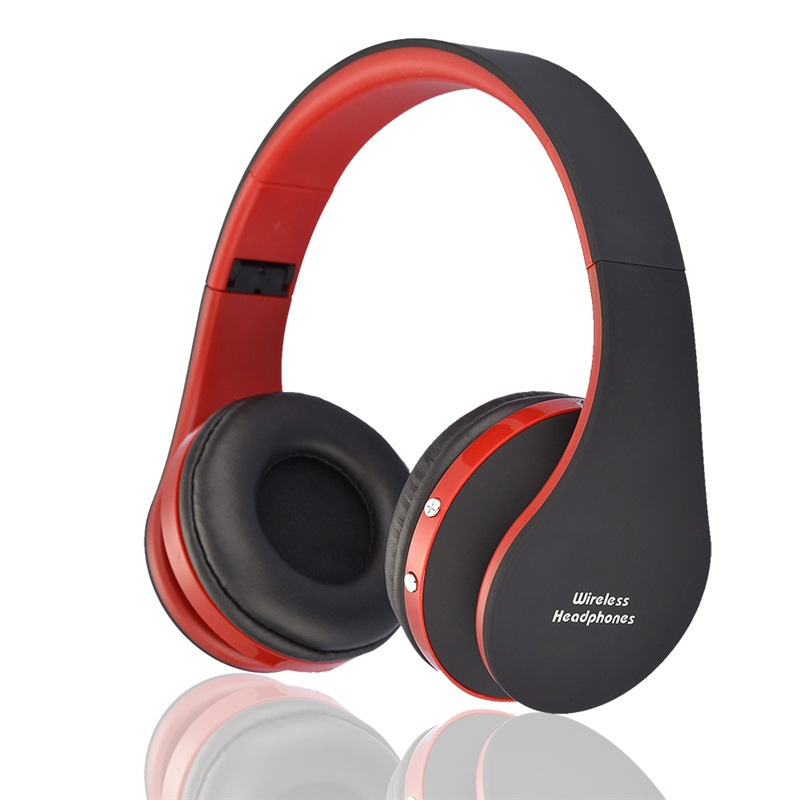 Wholesale NX-8252 Foldable Wireless Bluetooth Headphones with Built-in Microphone and 3.5mm Audio Port - Black Red