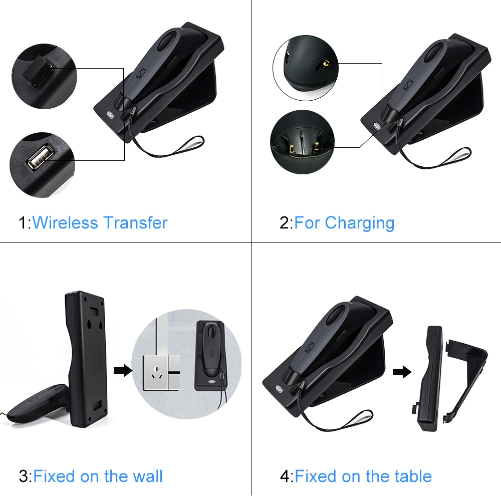 1D CCD Barcode Scanner Symcode (Bluetooth + 2.4GHz Wireless + USB Wired, Black )