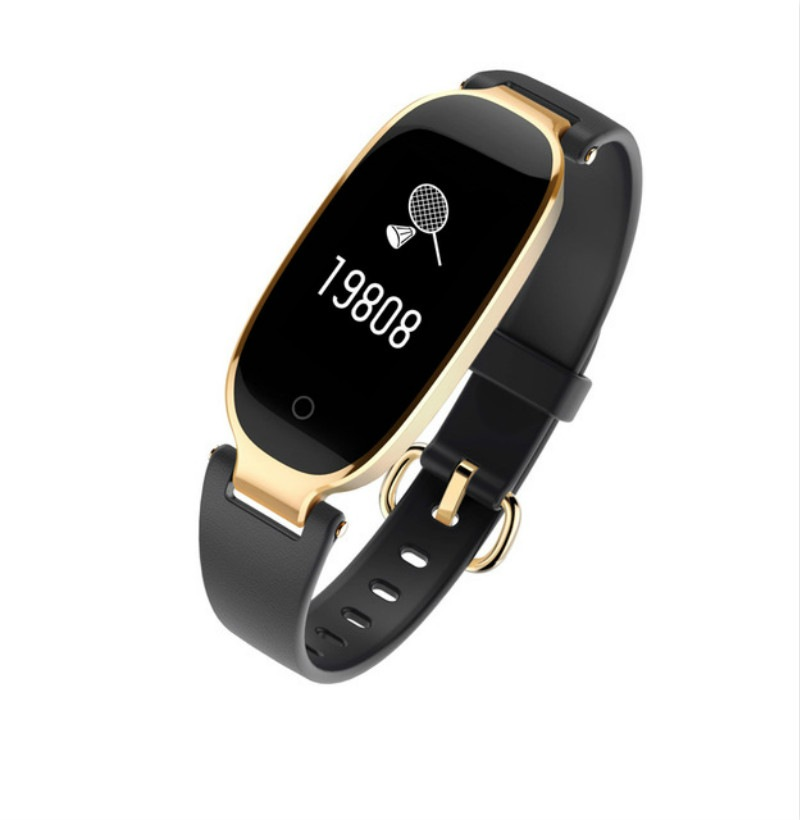 Wholesale S3 Waterproof Smart Band Bracelet Fashion for Girl Lady pk mi band 2 3 - Black + Gold