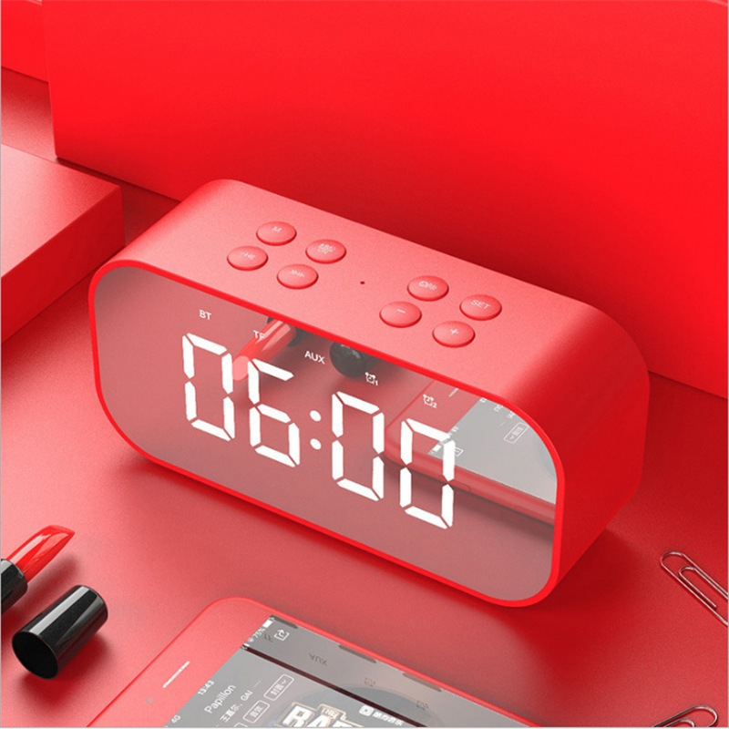 Wholesale Portable Wireless Bluetooth Speaker Column Subwoofer Music Sound Box LED Time Snooze Alarm Clock - Red