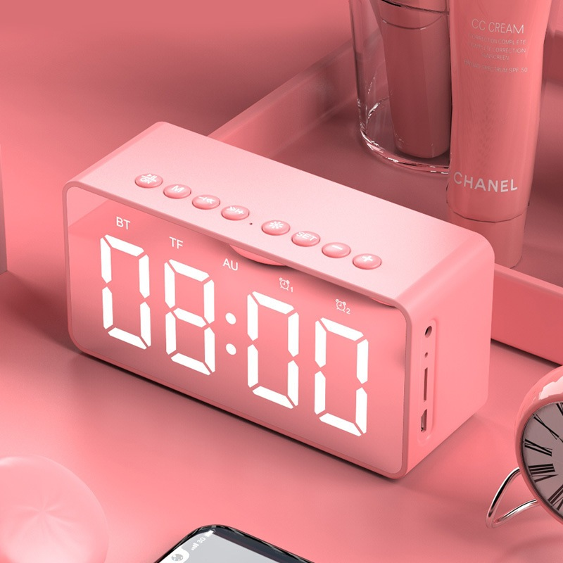 Wholesale BT506 LED Speaker Mirror Alarm Clock with Wireless Bluetooth for Office Bedroom - Pink
