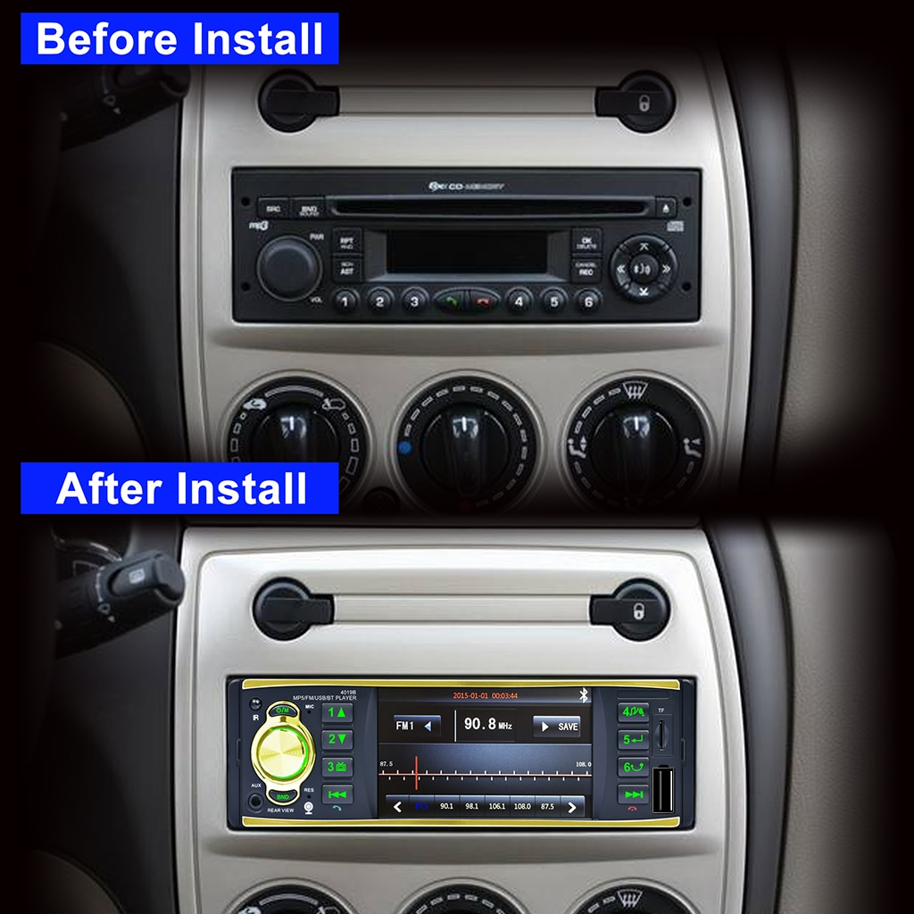 4.1 Inch 1 DIN Car Stereo Bluetooth MP5 Media Player with FM Radio, IR Remote Control, USB TF AUX In