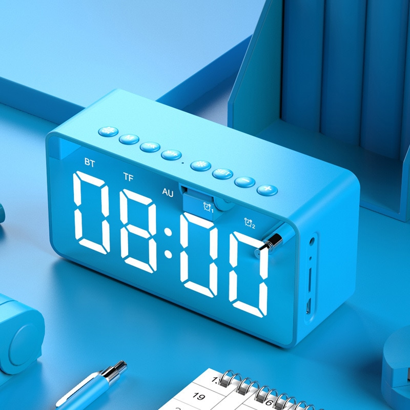 Wholesale BT506 LED Speaker Mirror Alarm Clock with Wireless Bluetooth for Office Bedroom - Blue