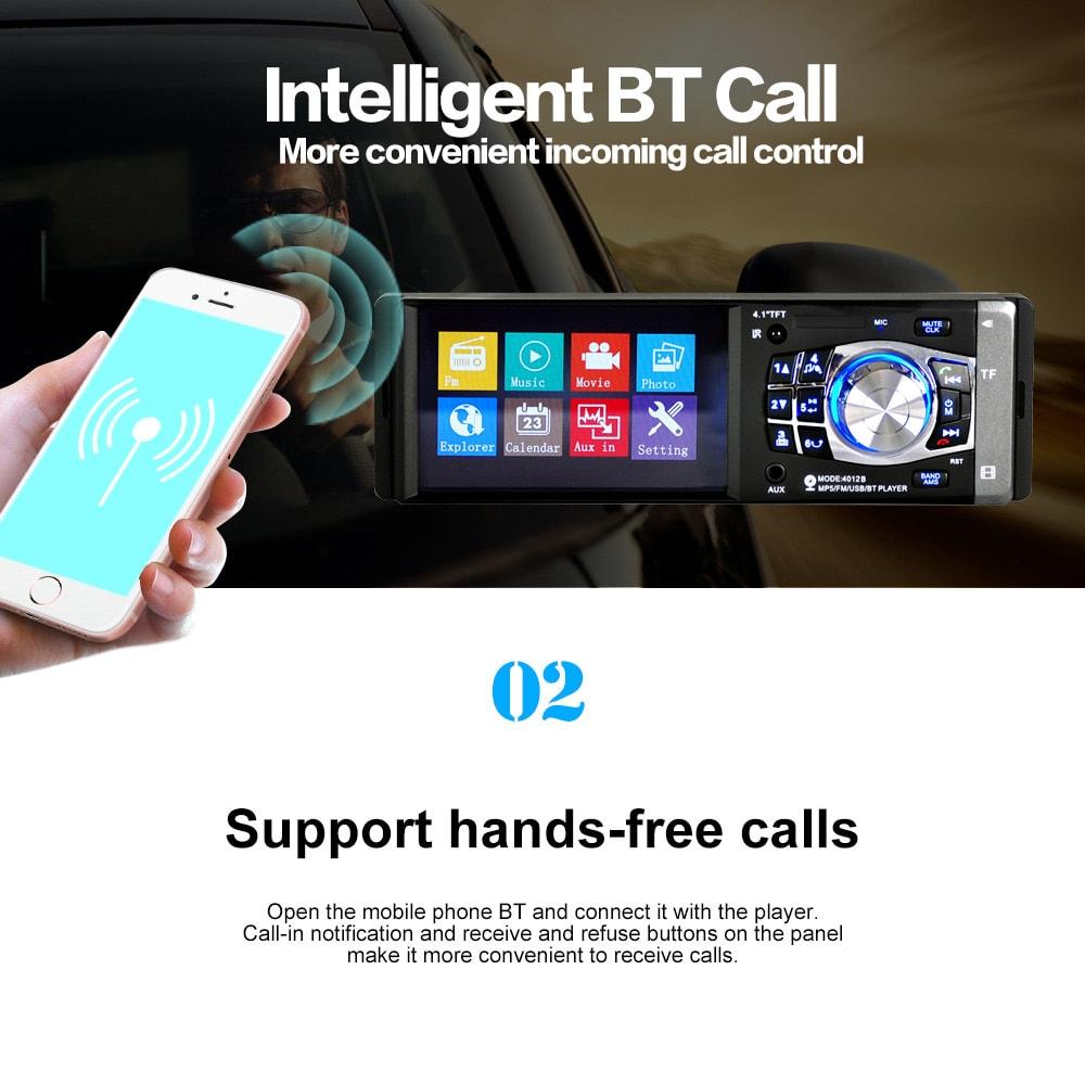 4.1 Inch Car MP5 Bluetooth FM Radio Multimedia Player Stereo Audio Video Rear Camera Remote Control - Black