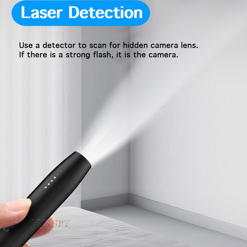 Portable Anti Spy Wireless LED Signal Detector - Find Hidden Camera, Car Tracking Device