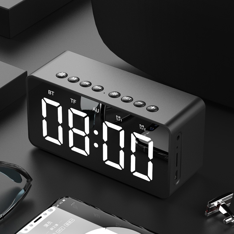 Wholesale BT506 LED Speaker Mirror Alarm Clock with Wireless Bluetooth for Office Bedroom - Black