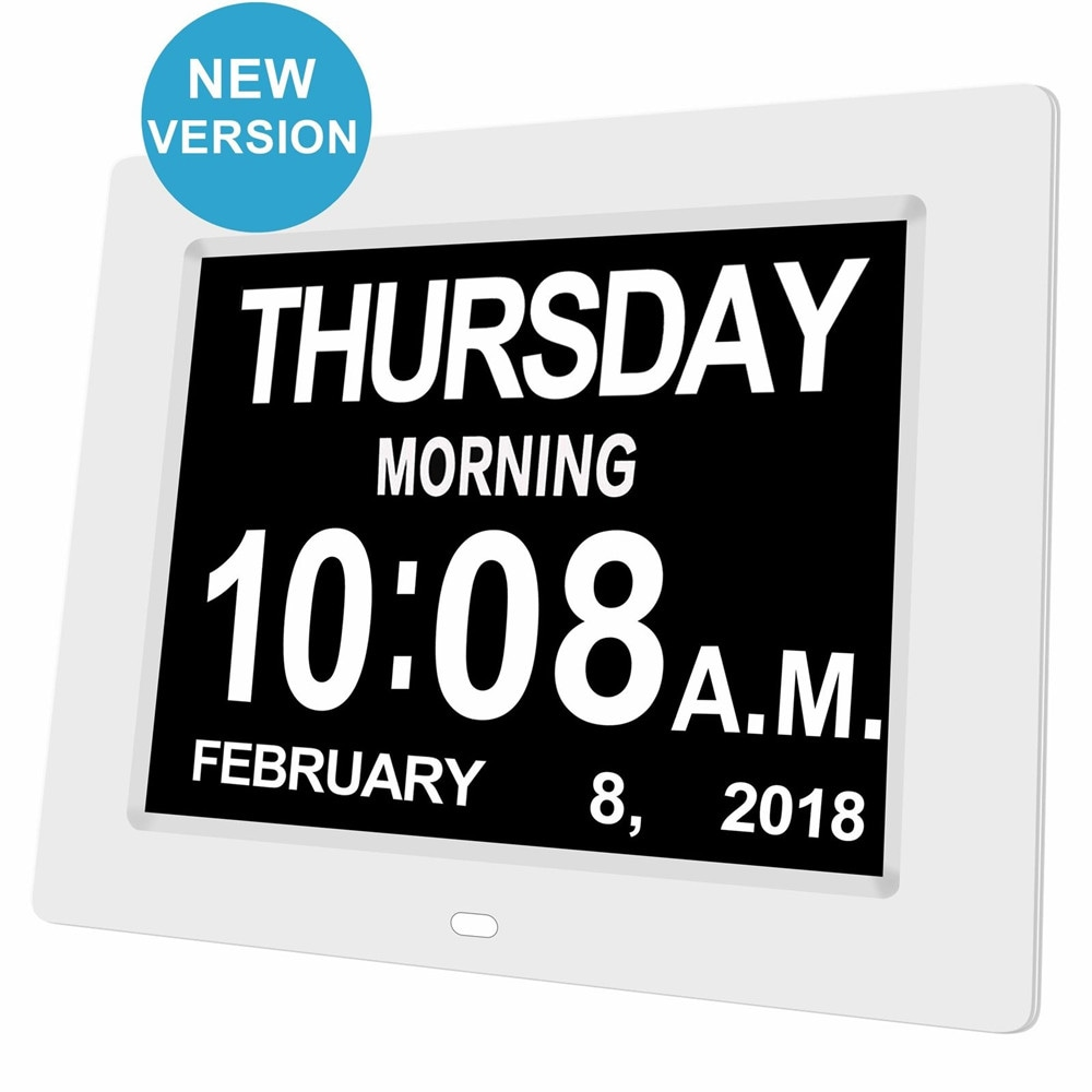 Wholesale 8 inch White LED Dementia Digital Calendar Clock Extra Large Day-Week-Month-Year - White