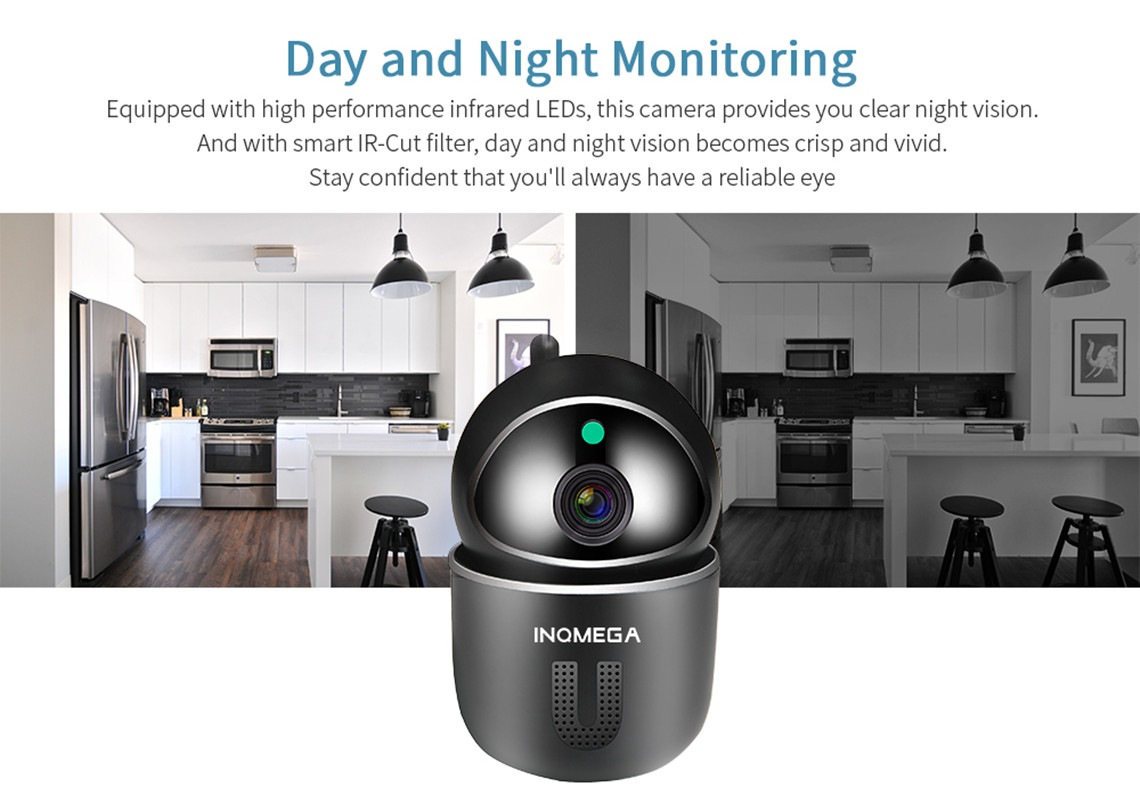 INQMEGA 1080P Full HD Mini Cloud Wireless PTZ Security IP Camera + Baby Monitor with Smart Night Vision, Two Way Audio - White